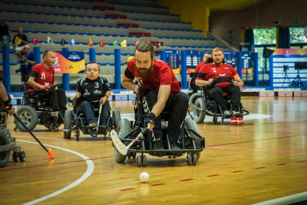 Fra VM i powerchair floorball i 2018 i Italien. Foto: Mirco Esposto
