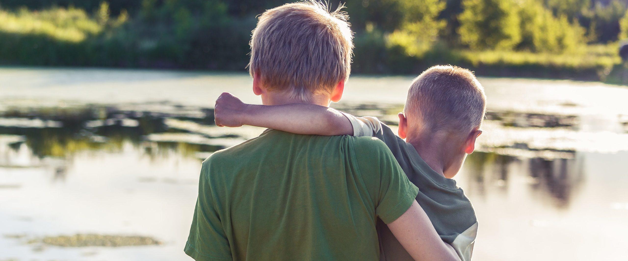Billede af to drenge ved en sø med ryggen til